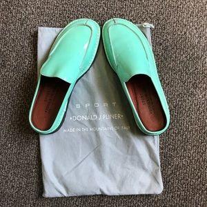 Donald J Pliner green leather sport mules/ slides